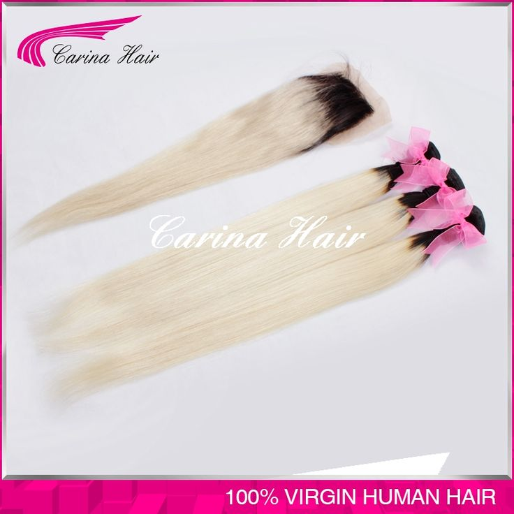 Ombre Two Tone #1b/613 Dark Roots Blonde Color Brazilian Virgin Human Hair Weave with Closure Silk Straight Double Wefts