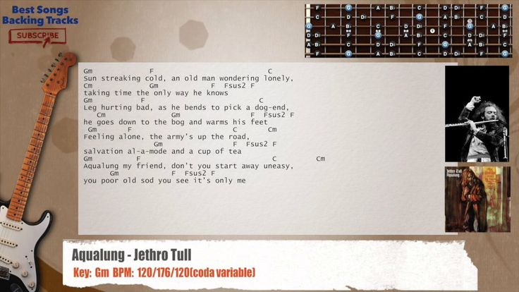 Aqualung - Jethro Tull Guitar Backing Track with chords and lyrics