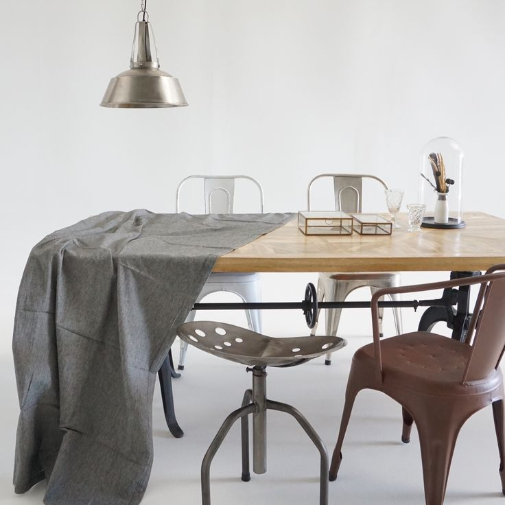 Sauvage Interiors La Grange industrial pendant #industrialpendant #industrialdining #pedestaldiningtable #parquetrytable #factorypendant