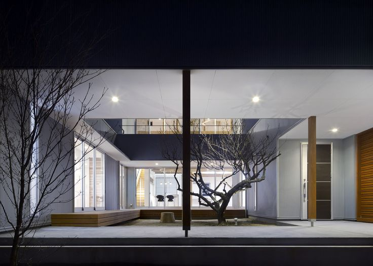 有島忠男設計工房 の オリジナルな 庭 夕景:中庭の梅の木