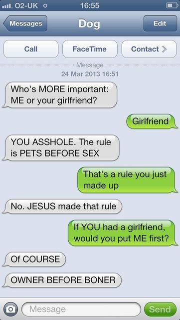 go to the site....there is a whole page of these funny text from dog to owner!!