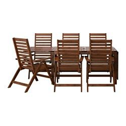 ÄPPLARÖ, Table + 6 reclining chairs, outdoor, brown stained
