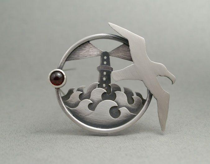LW740 Porthole brooch - oxidised sterling silver, garnet $910