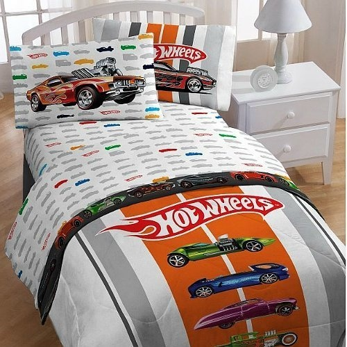 Toddler Boy Bedroom Sets Warm Bedroom Colors Paint White Gloss Bedroom Furniture Grey Bedroom Door: Hot Wheels Full Bed Sheet Set From Mattel