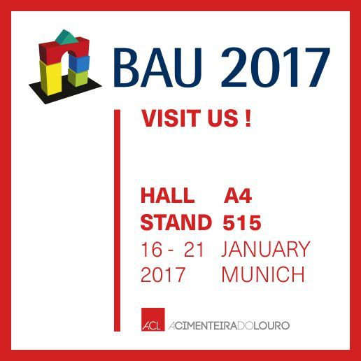 BAU 2017 -  MUNIQUE  A Feira Internacional de Arquitetura, Materiais e Sistemas -  BAU realiza-se a cada dois anos, e, como não podia deixar de ser, ACL estará presente neste evento de Arquitetura, que decorrerá de 16 a 21 de Janeiro, em Munique.   Visite o nosso stand! Hall A4 Stand 515  --  BAU 2017 -  MUNICH   The International Exhibition of Architecture, Materials and Systems - BAU is held every two years.  How could it be, ACL will attend this event, which will take place from