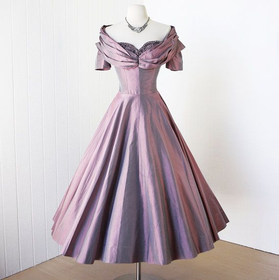 "Wow!!  This gorgeous LAVENDER DREAM by traven7 on Etsy looks quite queenly with the portrait collar and beaded sweetheart neckline.  It almost reminds me of something Ethel Merman would have worn in ""Call Me Madame"".  Very ""Irene Sharaff"" looking. #1950s #couture #dress"