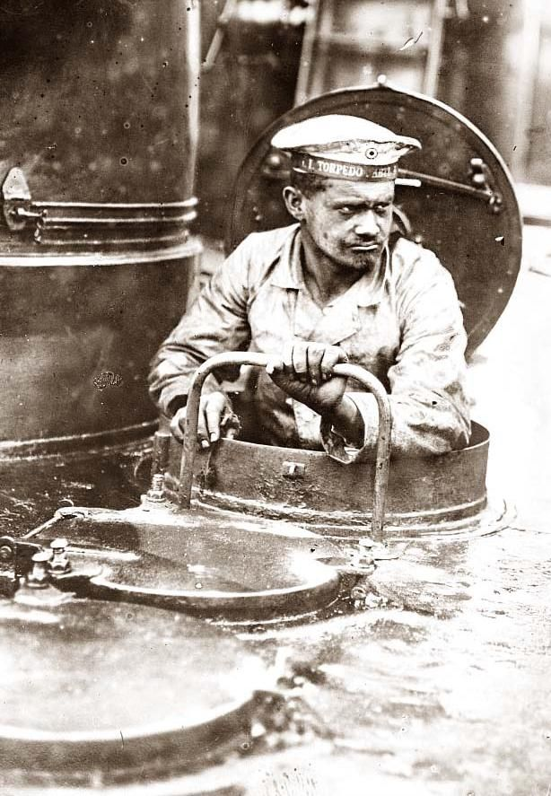 WWI. On a German U Boat. Can you imagine how much guts it took to go down in one of those things?