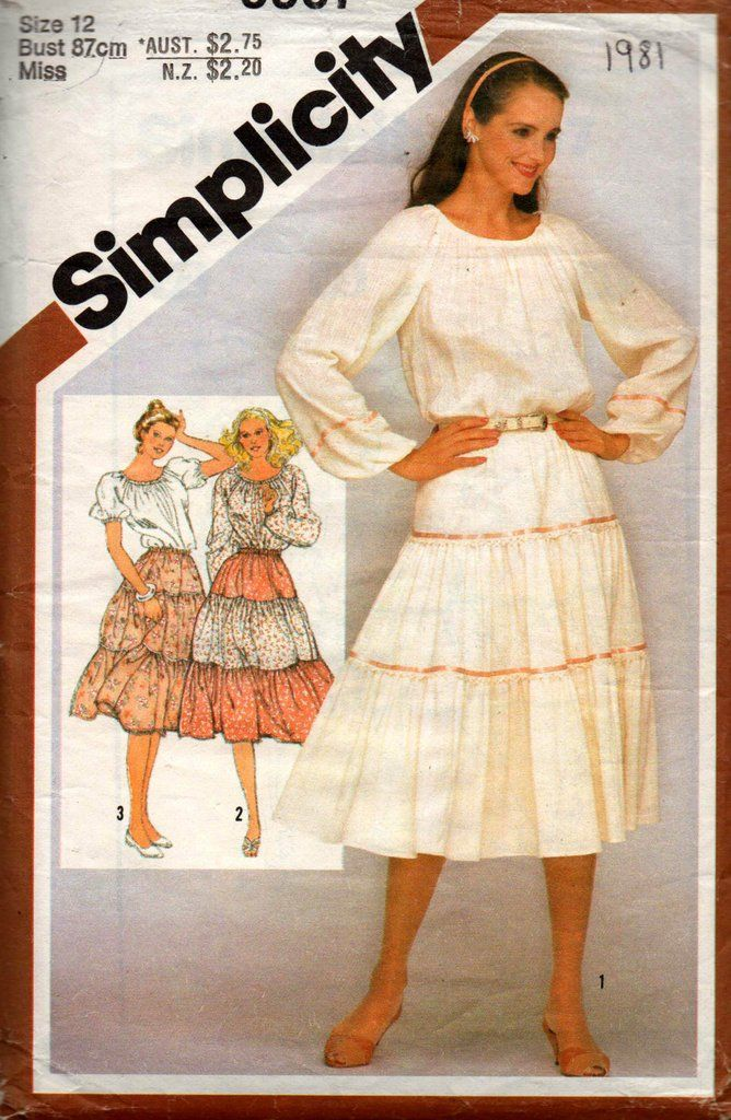 5ecdfb8648b Simplicity 9907 Womens Peasant Blouse   Tiered Skirt 80s Vintage Sewing  Pattern Size 12 Bust 34