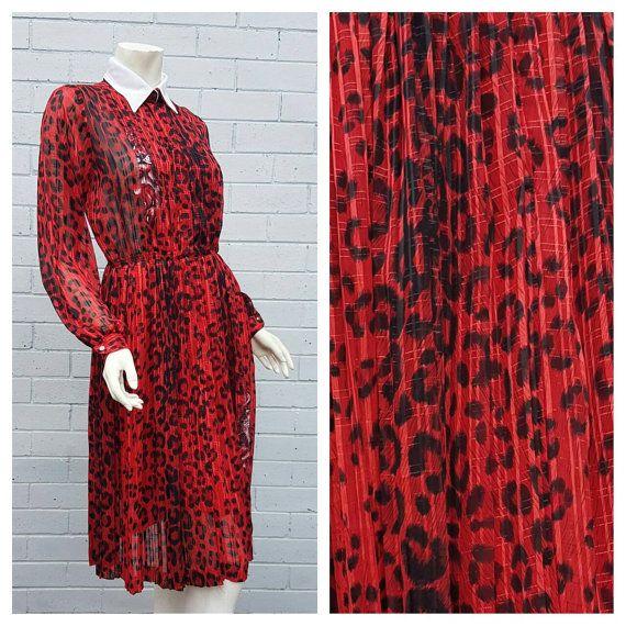 Vintage 1980s Japanese Red Leopard Print Contrast Point Collar Pleat Skirt Secretary Midi Dress Medium