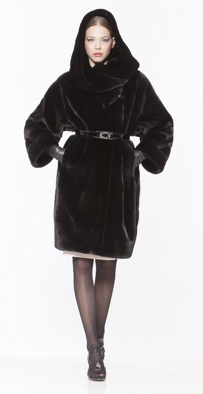 Braschi Blackglama Mink Fur Hooded Coat