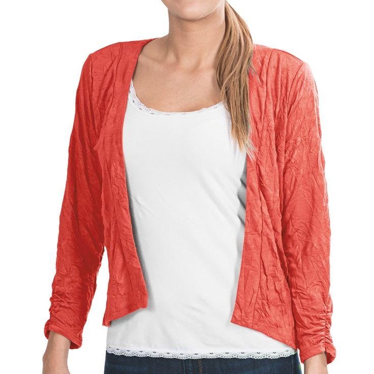 Apropos Crush On You Zia Crop Cardigan Sweater (For Women) in Papaya