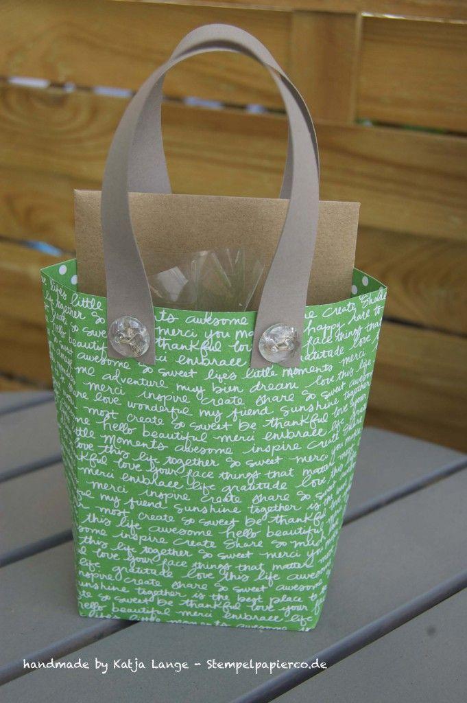 Kleine Tasche mit dem Gift Bag Punch Board / Stanz- und Falzbrett für Geschenktüten von Stampin' Up!