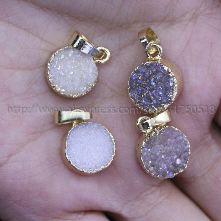 Natural geode druzy charm druzy pendant beads natural agate natural color round druzy pendant fashion new druzy jewelry 114