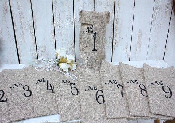 Adorable bags for blind wine tasting!: Bottle Used For Tables Numbers, Gifts Bags, Burlap Tables Numbers, Burlap Ideas, Burlap Bags, Bottle Tables, Wine Bottle, Tables Decor, Wine Bags