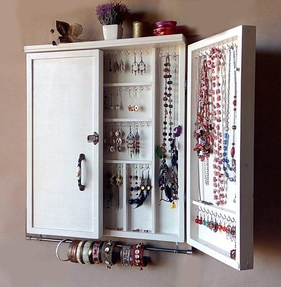 Fall OFFER 40% OFF on shipping costs-Jewelry cabinet. Large earrings case jewelry storage. wall mounted earring organizer. earrings storage
