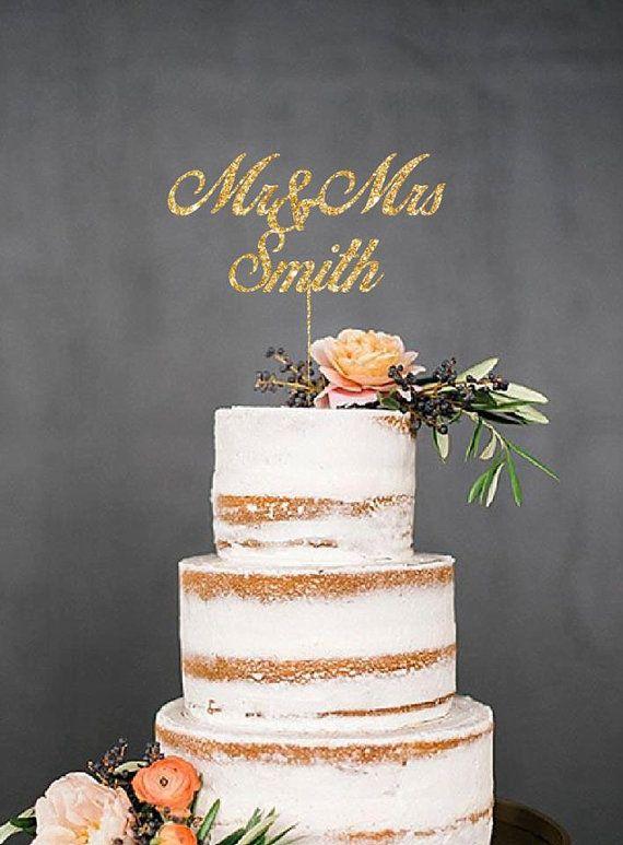 custom mr and mrs last name glitter cake topper