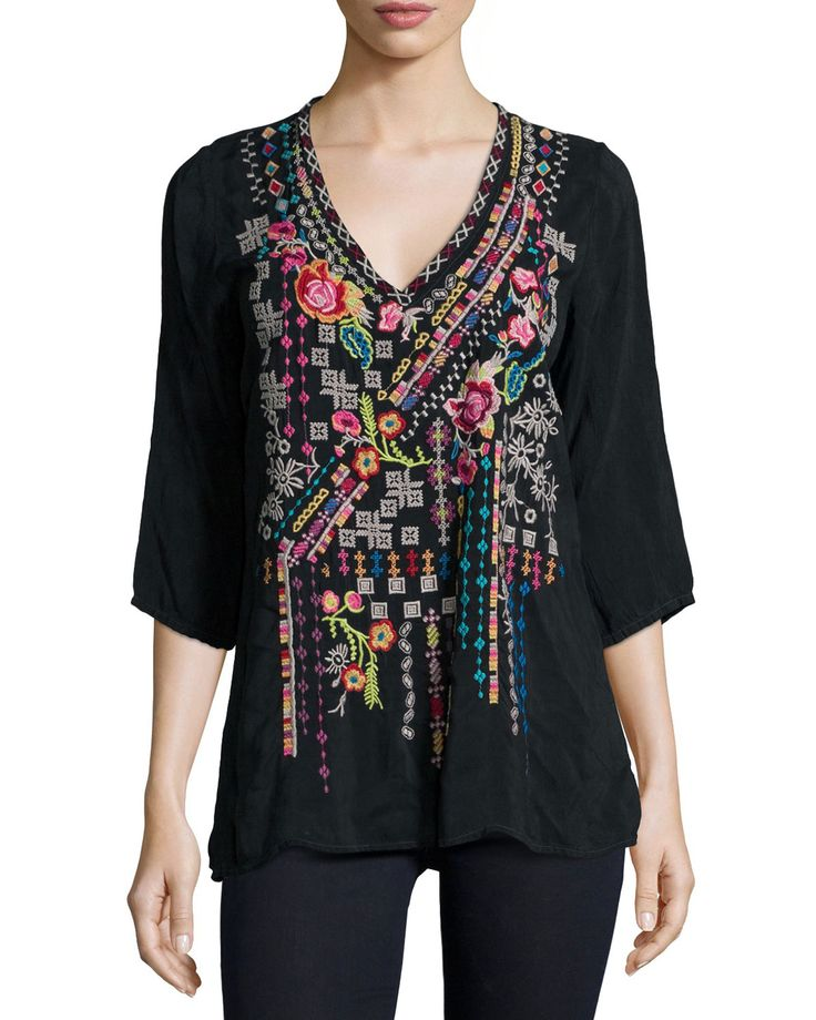 Sonrisa Embroidered Tunic, Size: XX-LARGE (16), Sanded Black - Johnny Was Collection