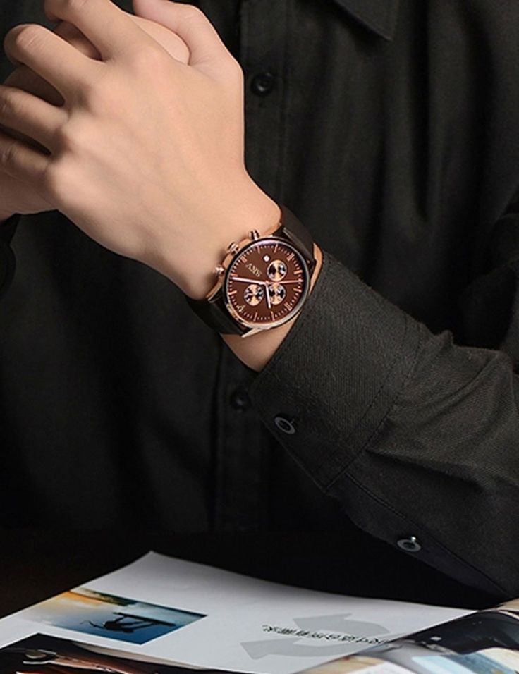 Sisistore Men Quartz Wrist Watch with Abrasion Resistant Mirror and Leather Band Rose Brown