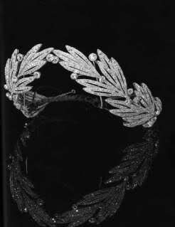 Diamond laurel wreath tiara, part of the collection of the House of Savoy.  laurel is a symbol of peace