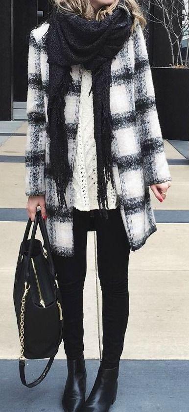 #winter #fashion / Black//white plaid coat + white sweater + black scarf + black skinny jeans & handbag