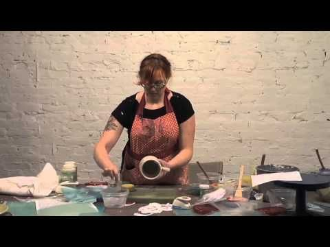 ▶ Pottery Video: Screen Printing and Stenciling Underglaze Designs on Curvy Pots | MEREDITH HOST - YouTube