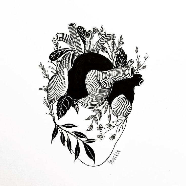 The heart is organic in black white pen art