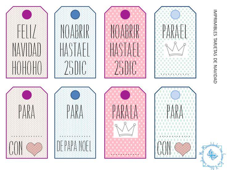 Etiquetas de regalo imprimibles.  http://manualidadescongomaeva.blogspot.com.es/2013/12/etiquetas-de-regalo-imprimibles-gratis.html