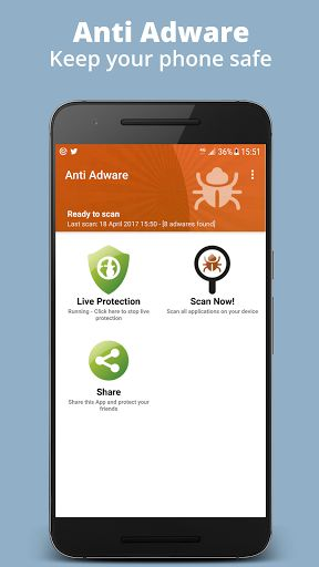 Anti Adware v3.1 [Premium]   Anti Adware v3.1 [Premium]Requirements:4.1 and upOverview:Advanced Adware protection for mobile. Adware remover with a live protection mode option.  Advanced Adware protection for mobile. Adware remover with a live protection mode option  Is your device safe from threats? Anti AdWare detects adwares on your phone or tablet and easily offers you to remove them. The live protection automatically alerts you if an adware or malware is found when you install a new app…