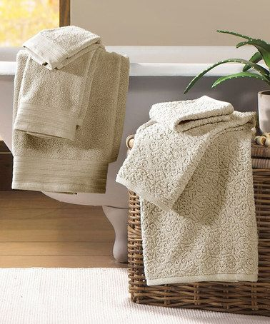 Look at this #zulilyfind! Taupe Baroque Jacquard & Solid Egyptian Cotton Towel Set #zulilyfinds