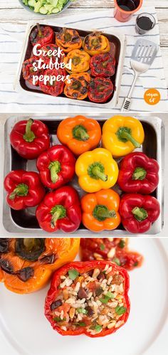 This vibrant Greek dish of stuffed peppers (known as Gemista) is simply a summer on a plate. It's filling and light at the same time. It's vegan and gluten-free. #vegan #glutenfree #recipe #recipes #lunch #dinner #easy #vegetarian