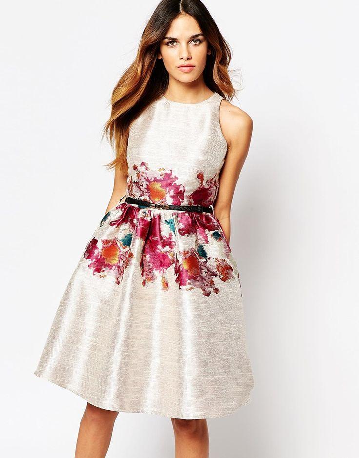 Little Mistress Skater Dress With Floral Print Waist