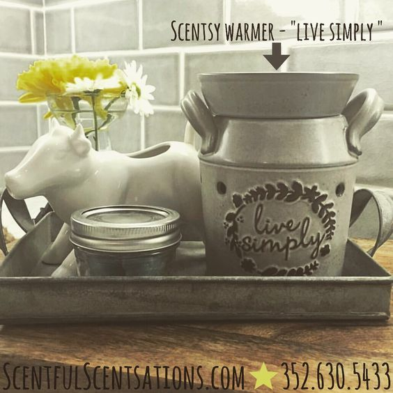 Scentsy Milk Can Style Warmer Wickless Safe Candle Wax Burner Grey Country