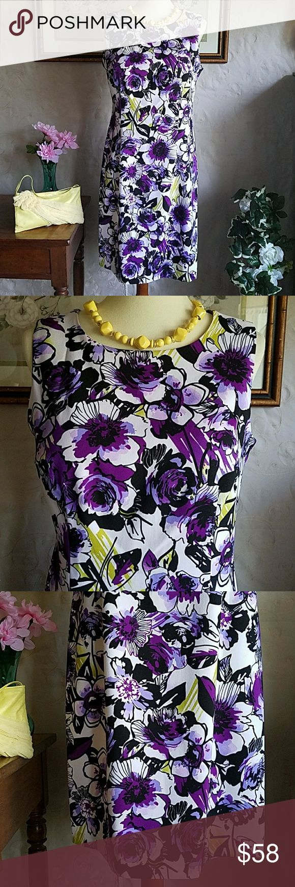 NWOT💜 Ronni Nicole Floral Sheath Dress 💜 Gorgeous Purple and Chartreuse💛  Sleevless almost abstract floral print  Sheath Dress💜 🌟Beautifully tailored fit, hidden back zippered closure🌟 🌟 97% Polyester 3% Spandex  🌟 36 Length 🌟 NWOT🤗 Just in time for your fresh Spring wardrobe🎉🎉 Ronni Nicole Dresses