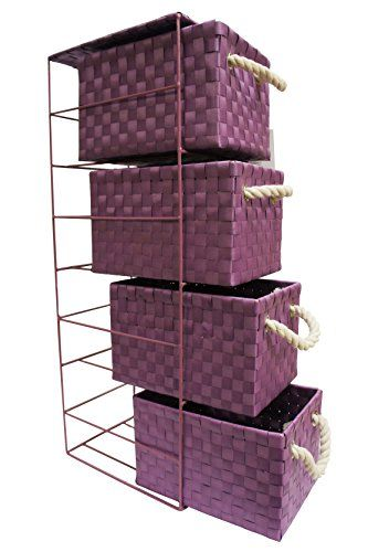 From 17.99:Arpan 4 Drawer Polypropylene Tower Storage Cabinet Unit With Chrome Wire Frame - Purple | Shopods.com