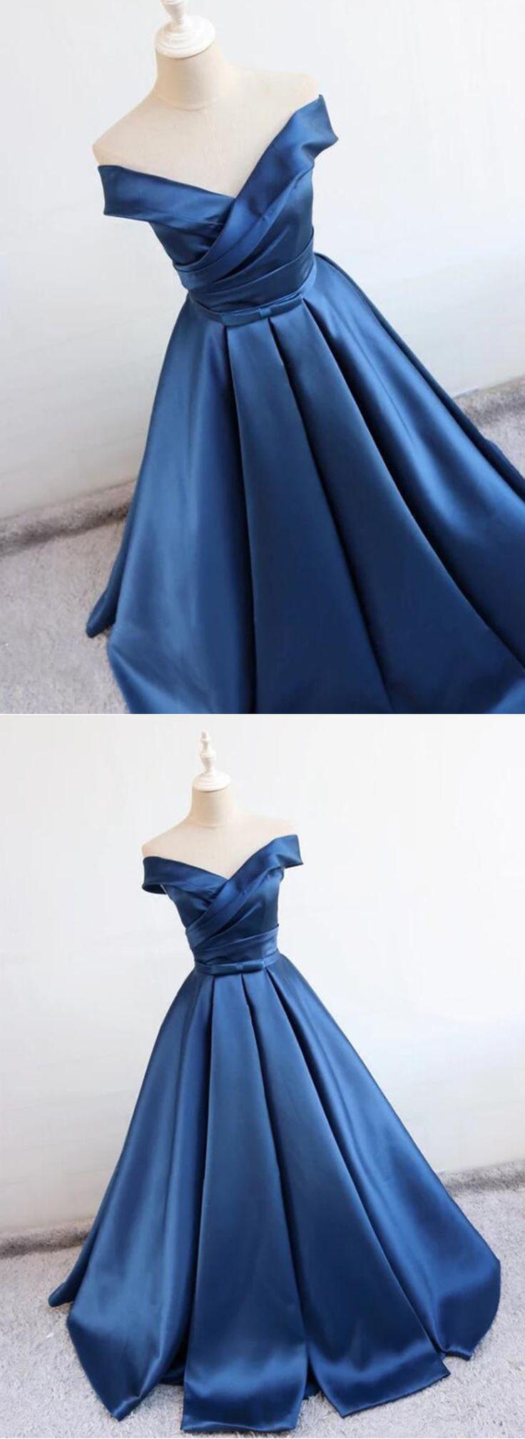 Deep blue V neck long off shoulder prom dress, long satin homecoming dresses