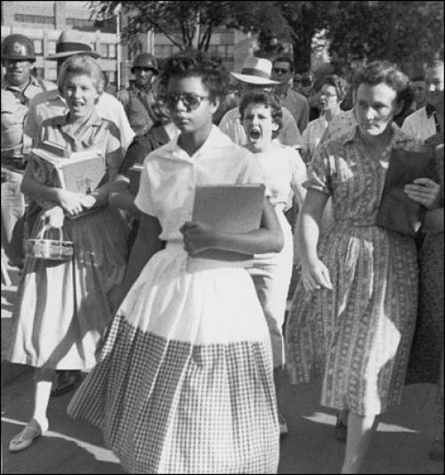 The Little Rock Nine was a group of African-American students who were enrolled in Little Rock Central High School in 1957. The ensuing Little Rock Crisis, in which the students were initially prevented from entering the racially segregated school by Arkansas Governor Orval Faubus, and then attended after the intervention of President Eisenhower, is considered to be one of the most important events in the African-American Civil Rights Movement.