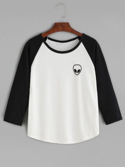 Black Alien Embroidered Raglan Sleeve Curved Hem T-shirt