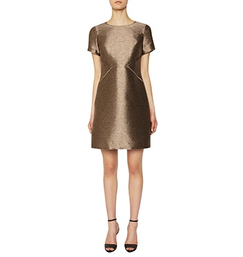David Lawrence | DL Atelier - DL Atelier - Luxury Metallic Silk Seam Detail Shift Dress
