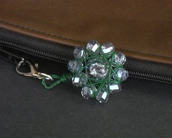 Gray crystal and cracked marble purse charm / zipper pull / key chain by TheBeadedCatsEye