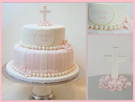 Baptism Cake. Love the light colors