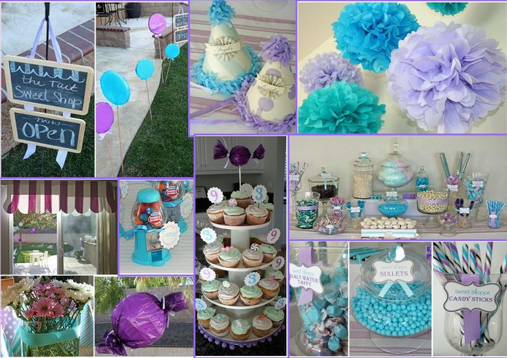Ideas for a candy theme for a sweet 16 birthday party in purple and teal.