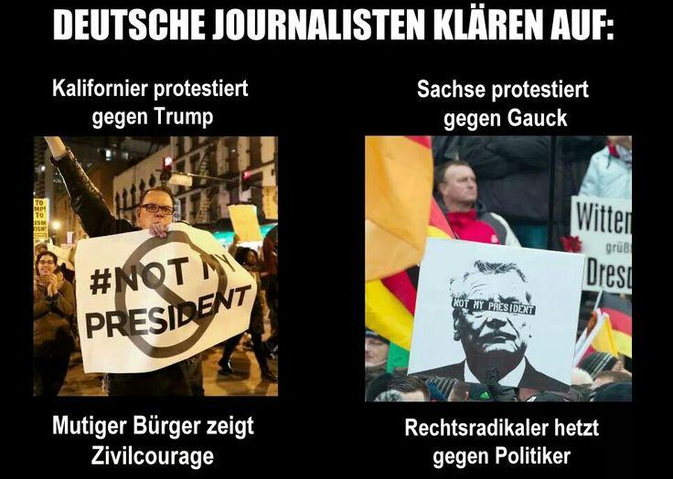 Deutsche Journalisten klären auf: Kalifornier protestiert gegen Trump: Mutiger Bürger zeigt Zivilcourage - Sachse protestiert gegen Gauck: Rechtsradikaler hetzt gegen Politiker