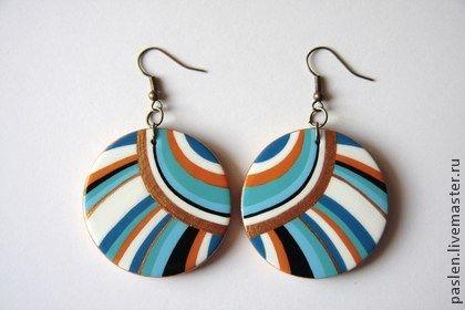 "Handmade earrings. Fair Masters - handmade earrings made of wood with hand-painted ""Aztecs"". Handmade. $14.02"