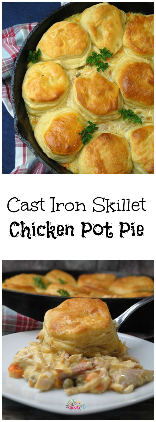 Cast Iron Skillet Chicken Pot Pie Recipe!! YES PLEASE!! There's nothing more comforting than some good old fashioned comfort food and this is so easy to make!!! (note... ingredients listed above aren't correct... ingredients: 1 rotisserie chicken, shredded. 1 can mixed vegetables. 1 can cream of chicken soup. Salt & pepper, to taste. 1 bunch fresh parsley, chopped. (optional) 1 container of refrigerator buttermilk biscuits!!!!b