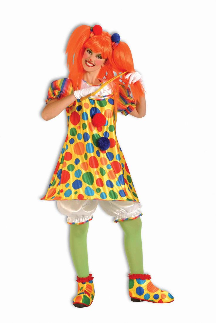Giggles The Clown Ladies Halloween Costume - Calgary, Alberta. A great clown costume idea for any Halloween party, or wear as a special guest to the next little kid's Birthday party. This 4 piece multicolored hooped clown costume dress with accessories is just too cute. An easy, classic costume idea for Halloween.  The clown costume includes a one piece yellow clown dress with multicolored polka dot print.