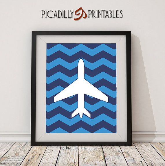 Vliegtuig blauw Chevron Wall Art  van PicadillyPrintables op Etsy