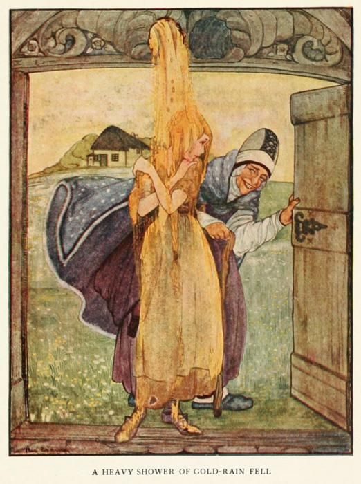 """Rie Cramer (1887-1977). Grimm's fairy tales (c1922). """"Mother Holle"""" and the shower of gold."""