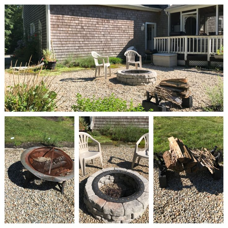 Transformed my old rusted firepit  for $52.98. Purchased field stone blocks and heat resistant spray paint.  I was able to use the legs of the old firepit to create a rack for firewood.