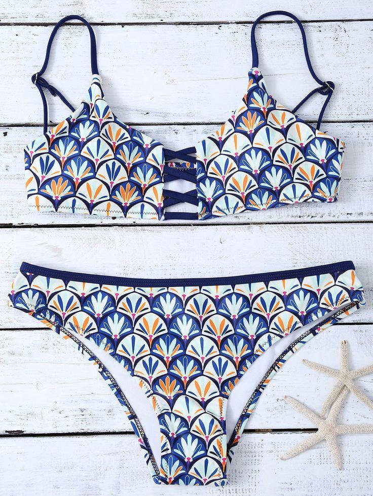 $15.49 Criss Cross Cami Shell Print Bikini Set BLUE: Bikinis | ZAFUL