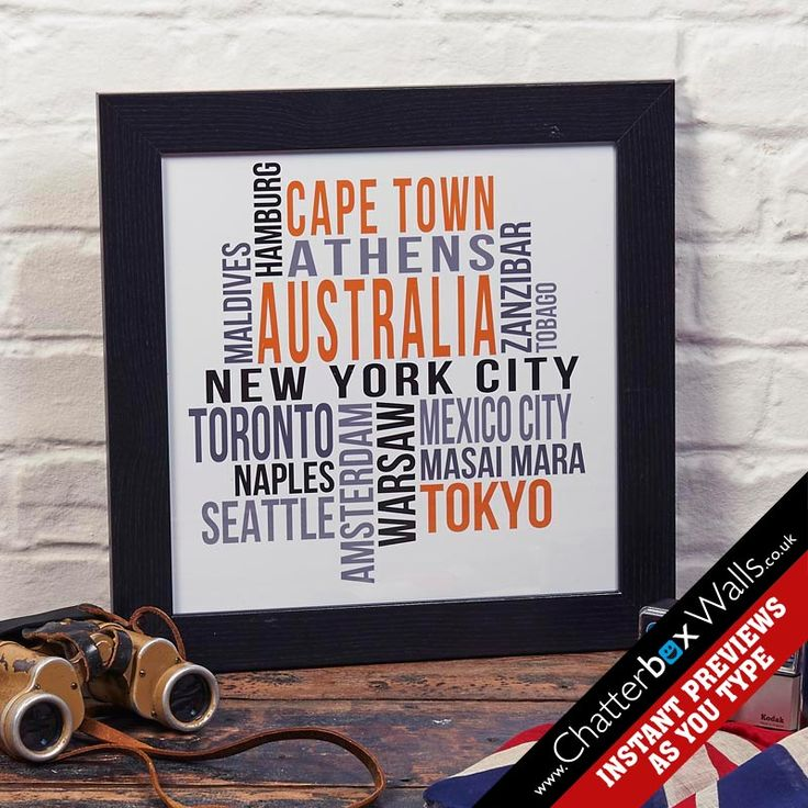 Personalised Favourite places typographic word art framed print
